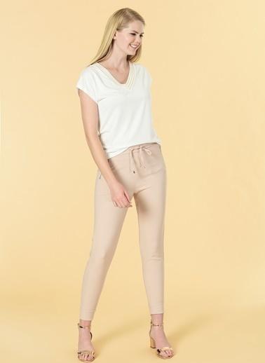 Knit&Co Cepleri Fermuarı Pantolon Bej